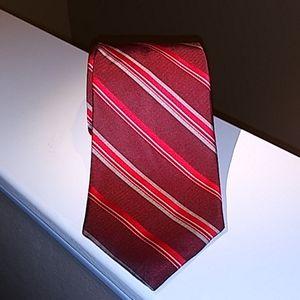 JCrew 100% silk men's striped red tie